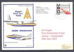 Pays-Bas Enveloppe Air Anglia Premier Vol Jersey-Amsterdam YT N°1063 Elections Chambre Des états Généraux - Marcophilie
