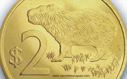 ® URUGUAY: Nueva Moneda $2 (2014) Animal: Carpincho - LOTE X5 - Uruguay