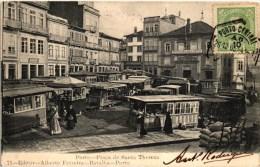 PORTO -  PRA�A DE SANTA THEREZA 1905 - MERCADO FEIRA -  PORTUGAL (2 SCANS)