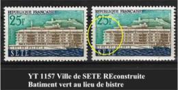 "FR Variétés YT 1155 "" SETE "" 1958 Bâtiment Vert Au Lieu De Bistre - Errors & Oddities"