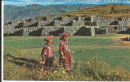 CPM PERU P�rou Saqsayhuaman, forteresse inca / Cusco / enfants, costumes typiques peruviens