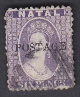 NATAL, 1869  6d VIOLET O/P POSTAGE USED - Stamps
