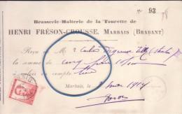 facture brasserie malterie de la Tourette Henri Fr�son Crousse Marbais Brabant (au dos cachet postal de Tilly)