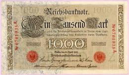1000 Marks - Berlin 21 April 1910 - Reichsbankdireftorium - N° 6761935 A . Sup - [ 2] 1871-1918 : German Empire
