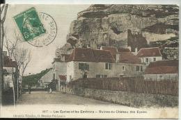 D24 -  LES EYZIES ET LES ENVIRONS  - Ruines Du Chateau Des EYZIES  - (Toilée Et Colorisée) - France