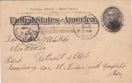 "Entier Postal STURCIS ""Postal Card One Cent"" 1895"