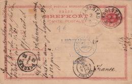Entier Postal Karlstad (Suède), Cachet D'entrée Bleu >> France 1880 - Interi Postali
