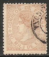 1867-ED. 96 ISABEL II 50 MILESIMAS CASTAÑO AMARILLENTO - USADO FECHADOR PROVINCIA DE TARRAGONA - Usados