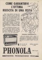 # PHONOLA GIRADISCHI TURNTABLE ITALY 1950s Advert Pubblicità Publicitè Reklame Publicidad Radio TV Television - Unclassified