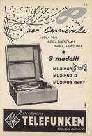 # TELEFUNKEN GIRADISCHI TURNTABLE ITALY 1950s Advert  Publicitè Reklame Drehscheibe Radio TV Carnival Carnevale - Radio & TSF