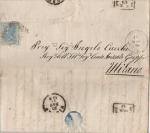 B045 - 19 Maggio 1869 Lettera Con  Testo, 20cent Azzurro, Annullo Doppio Cerchio C Da Lumello(PV) A Milano , Leggi .... - 1861-78 Victor Emmanuel II.