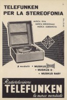 # TELEFUNKEN GIRADISCHI TURNTABLE ITALY 1950s Advert  Publicitè Reklame Drehscheibe Radio TV - Radio & TSF