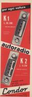 # CONDOR AUTORADIO ITALY 1950s Advert Pubblicità Publicitè Reklame Drehscheibe Car Radio TV Television - Non Classificati