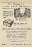 # WEBCOR RECORDER ITALY 1950s Advert Pubblicità Publicitè Reklame Drehscheibe Radio Television Televisore - Radio & TSF