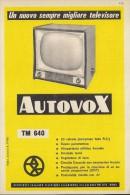 # AUTOVOX TV TELEVISION ITALY 1950s Advert Pubblicità Publicitè Reklame Publicidad Radio TV Televisione - Televisione