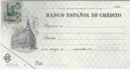 NAVARRA CHEQUE BANCO ESPAÑOL DE CREDITO PAMPLONA CON TIMBRE FISCAL DIPUTACION FORAL DE NAVARRA 20 CTS SERIE G CASTILLO D - Documentos Antiguos