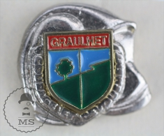 Sapeurs Pompiers / Fireman Firefighter Helmet - France, Graulhet -  Coat Of Arms - Pin Badge #PLS - Bomberos