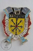 Abscon, France - Courage Et Devouement - Sapeurs Pompiers - Fireman Firefighters - Pin Badge #PLS - Bomberos