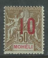 Mohéli N° 22 X Type Groupe Surchargé:  10 Sur 50 C. Trace Charnière Sinon TB