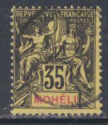 Mohéli N° 9 O Type Groupe :  35 C. Noir Sur Jaune Oblitération Légère Sinon TB