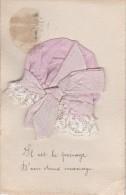 D CPA FANTAISIE BRODEE BONNET STE SAINT CATHERINE TISSU ROSE - Embroidered