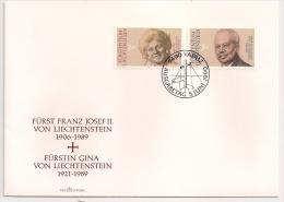 Furst FRANZ JOSEF II Et FURSTIN GINA  VON LIECHTENSTEIN. 1 FDC. UNE ENVELOPPE. - Liechtenstein