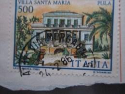 Italia / Italy / Italie -1985 L 500 VILLA SANTA MARIA STAMPA DOPPIA BLEU  - - 6. 1946-.. República