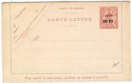 LBL30 - FRANCE BUREAU DE CHINE EP CARTE LETTRE MUCHON 10c SURCH. 4c NEUVE - Chine (1894-1922)