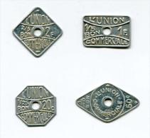"""Lot De 4 Jetons Uniface Monnaie De Nécessité 20c, 50c, 1F, 2F """"l´Union Commerciale"""" à Meaux Seine Et Marne - Trade Token - Monetary / Of Necessity"""