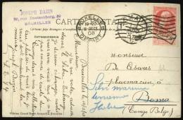 Cp affr. N�74de BRUXELLES/1908 pour Boma + griffe encadr�e PAQUEBOT. RR + certificat