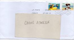 2015--Composition De Timbres Adhésifs (chien,poisson )  Sur Lettre - Marcophilie (Lettres)