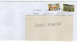 2015--Composition De Timbres Adhésifs (carnet  Art Gothique)  Sur Lettre - Marcophilie (Lettres)