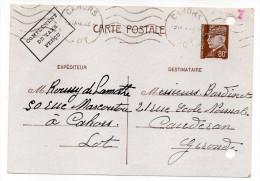 CP Pétain--Type Lemagny 80c Brun-rouge Sur N°CP 383--Complément Taxe Perçu-cachet Mécanique  CAHORS--46 - Entiers Postaux