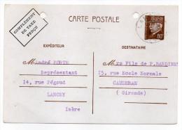 CP Pétain--Type Lemagny 80c Brun-rouge Sur N°CP 383--Complément Taxe Perçu-cachet Manuel  LANCEY--38 - Entiers Postaux