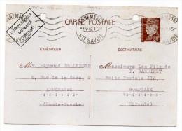 CP Pétain--Type Lemagny 80c Brun-rouge Sur N°CP 383--Complément Taxe Perçu-cachet Mécanique ANNEMASSE--74 - Entiers Postaux