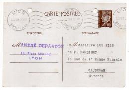 CP Pétain--Type Lemagny 80c Brun-rouge Sur N°CP 383--cachet Mécanique  LYON BROTTEAUX--69 - Entiers Postaux