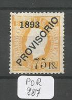 POR Afinsa  97 D. Luis I Surchargé PROVISORIO Type II Papier Porcelana 12 1/2 (x) - 1892-1898 : D.Carlos I