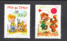 Francia    -    2002.  Boule & Bill, Cartoon Characters. Day Of Philately. Red Cross. Complet Set - Giornata Del Francobollo