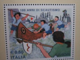 Italia / Italy / Italie -2007 BF 44 EUROPA CENT. SCAUTISMO DOPPIA STAMPA DEL NERO -PUNTA ALBERI- - Hojas Bloque