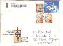 GOOD LITHUANIA postal cover to ESTONIA 2015 - good stamped: christmas ; church ; handwork