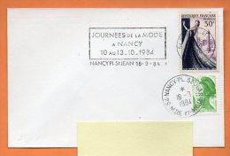 54 NANCY  JOURNEES DE LA MODE (flamme  Concordante) 18 / 7 / 1984 Lettre Entière N° I 900 - Marcophilie (Lettres)