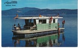 Aqua-Villa Houseboat Pleasure Boat, Spokane Washington Company, C1950s/60s Vintage Postcard - Hausboote
