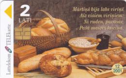 LATVIA  Phonecard With Chip  Bread, Food  12/2001 - Latvia