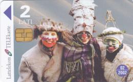 LATVIA  Phonecard With Chip  Masks  02/2002 - Latvia