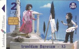 LATVIA  Phonecard With Chip  Arnold Burovam, Painting, Old Car 06/2001 - Latvia