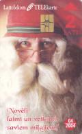 LATVIA  Phonecard With Chip  Santa Claus Christmas 04/2004 - Latvia