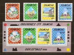 Samoa 1988 Yvertn° 678-81 Et Bloc 45 *** MNH Cote 9,00 Euro Noël Christmas Kerstmis - Samoa
