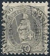 Stehende Helvetia 69D, 40 Rp.grau  ZÜRICH WIPKINGEN       1901 - Gebraucht
