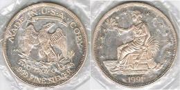 EE.UU USA 2 OUNCES ONZAS TROY 1991 PLATA SILVER - Estados Unidos