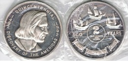 EE.UU USA 2 OUNCES ONZAS TROY 1992 COLON DISCOVERY PLATA SILVER - Estados Unidos